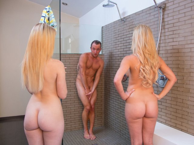 Playing with two blonde twins