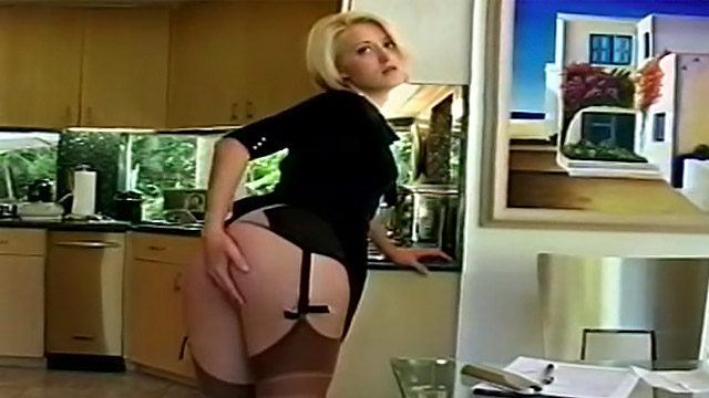 Nasty housewife tease her stockings