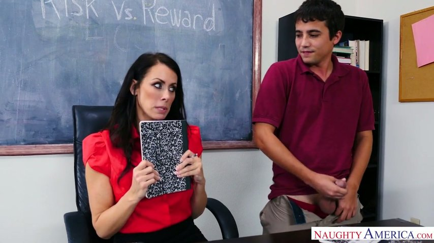 Young student jerks in front Reagan Foxx Sexy Teacher with Long Legs