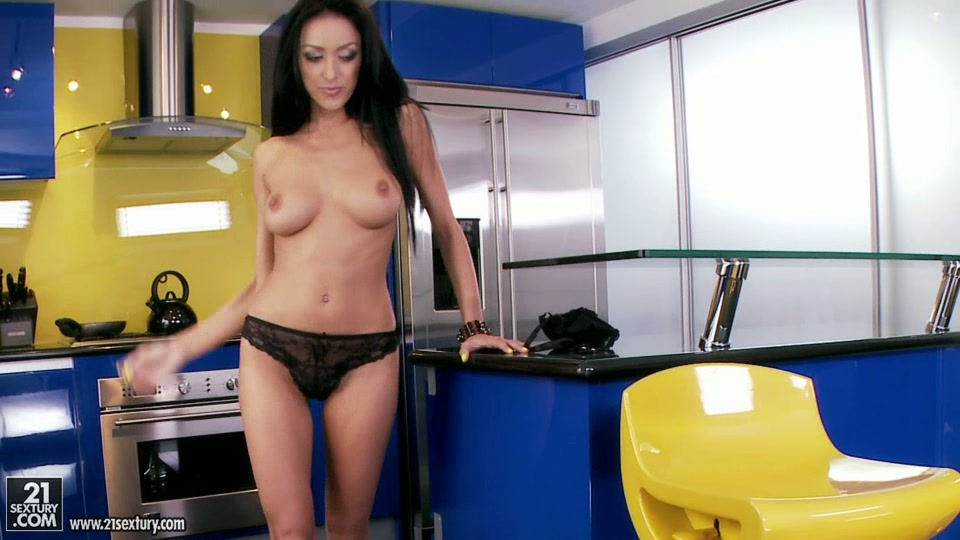 Black Hair Brunette Breanne Benson Masturbate at Kitchen